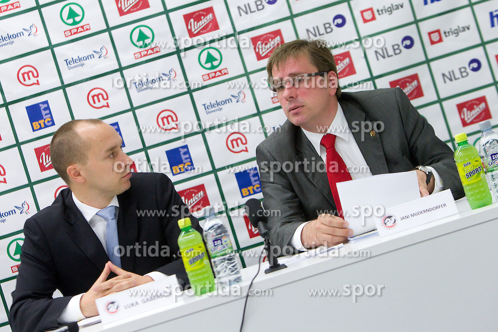 Luka Gaberscik and President Jani Moderndorfer at the General Assembly of basketball club KK Union Olimpija Ljubljana, on June 24, 2011, in Arena Stozice, Ljubljana, Slovenia. (Photo by Vid Ponikvar / Sportida)