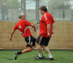LIVERPOOL, ENGLAND - Tuesday, May 12, 2009: Ex-Liverpool players Ian Rush and Jan Molby during a training session at Melwood as the players prepare for the Hillsborough Memorial Game in aid of the Marina Dalglish Appeal which will be staged at Anfield on May 14. (Photo by Dave Kendall/Propaganda)