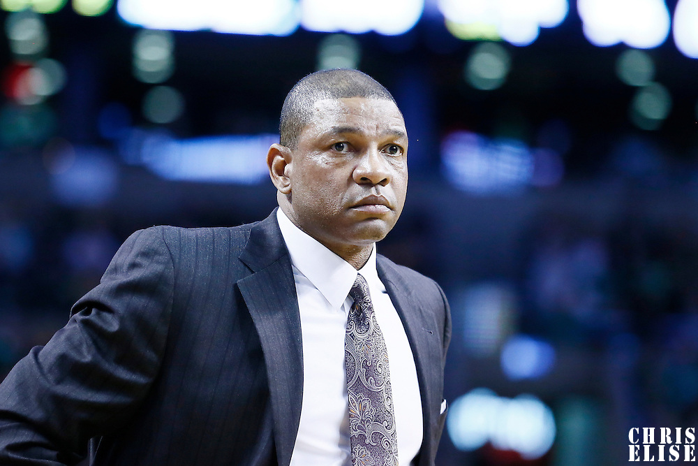 03 February 2013: Boston Celtics head coach Doc Rivers is seen during the Boston Celtics 106-104 victory over the Los Angeles Clippers at the TD Garden, Boston, Massachusetts, USA.