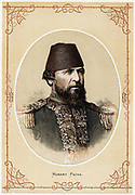 Hobart Pacha or  Pasha: Augustus Charles Hobard-Hampden (1822-1886), c1880. English naval officer and Naval adviser to Turkey who was appointed a Marshal of the Ottoman Empire. He commanded Turkish Black Sea Fleet in Russo-Turkish War of 1878.  Tinted litthograph.