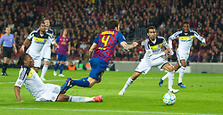 BARCELONA, SPAIN - Tuesday, April 24, 2012: FC Barcelona's Cesc Fabregas is brought down by Chelsea's Didier Drogba for a penalty, which Barca missed, during the UEFA Champions League Semi-Final 2nd Leg match at the Camp Nou. (Pic by David Rawcliffe/Propaganda)
