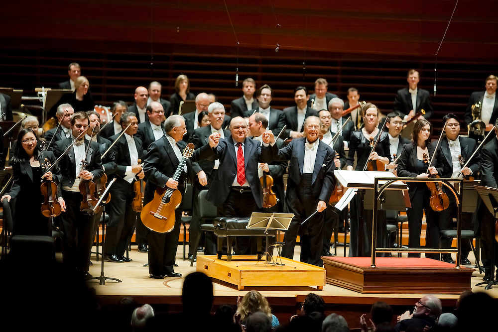 Conductor Rafael Frühbeck de Burgos leads guitarist Pepe Romero and the Philadelphia Orchestra in Palomo (Excerpts from Andalusian Nocturnes for guitar and orchestra) at Verizon Hall in Philadelphia on Thursday, March 1, 2012.