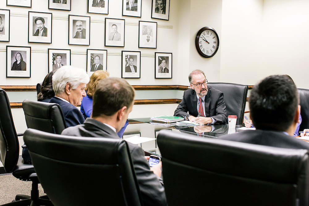 David Weil, Administrator of the Wage and Hour Division, holds a meeting with staffers,  at the U.S. Department of Labor in Washington, D.C.