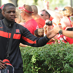 Rutgers junior wide receiver Mohammed Sanu high-fives fans during the pre-game Scarlet Walk as Rutgers prepares to face off in football against North Carolina Central at High Point Solutions Stadium in Piscataway, N.J. on Sept 1, 2011.