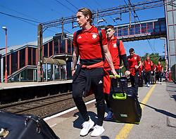 RUNCORN, ENGLAND - Tuesday, May 22, 2018: Wales' Harry Wilson at Runcorn Station as the squad travel by train as they head to Heathrow for a flight to Los Angeles ahead of the international friendly match against Mexico. (Pic by David Rawcliffe/Propaganda)