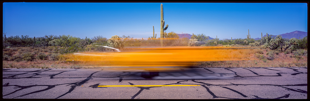 Yellow Car, Line, Cactus, Why, Arizona, USA, 1995