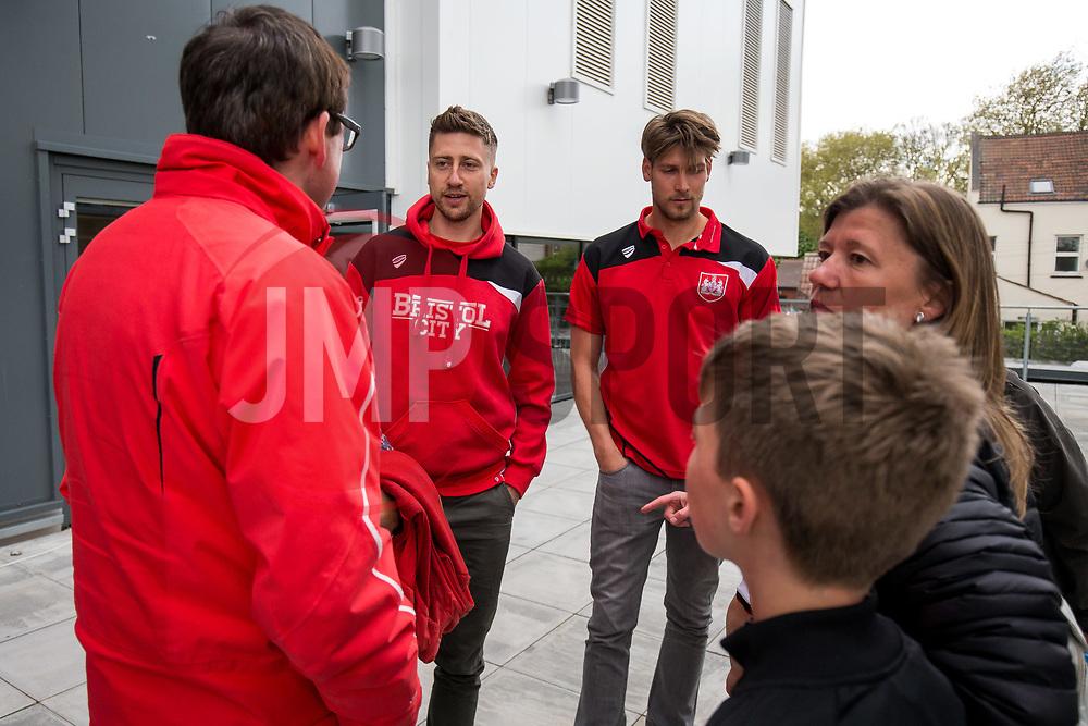 Bristol City's Jens Hegeler and Fabian Giefer take German Speaking children from the German Saturday School in Bristol on a tour of Ashton gate Stadium - Rogan Thomson/JMP - 24/04/2017 - Ashton Gate Stadium - Bristol, England.