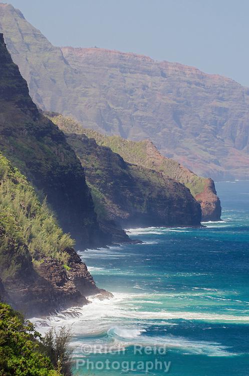 Big waves on the Na' Pali  from the Kalalau Trail on Kauai, Hawaii.