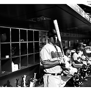 Paul Goldschmidt, Arizona Diamondbacks, in the dugout preparing to bat during the New York Mets Vs Arizona Diamondbacks MLB regular season baseball game at Citi Field, Queens, New York. USA. 10Th July 2015. Photo Tim Clayton