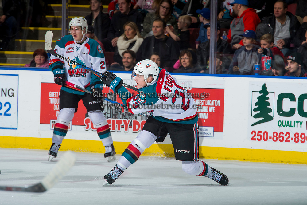 KELOWNA, CANADA - NOVEMBER 11: Nolan Foote #29 of the Kelowna Rockets takes a shot against the Red Deer Rebels on November 11, 2017 at Prospera Place in Kelowna, British Columbia, Canada.  (Photo by Marissa Baecker/Shoot the Breeze)  *** Local Caption ***