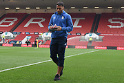 Birmingham City midfielder David Davis (26) inspects the pitch and reads the programme during the EFL Sky Bet Championship match between Bristol City and Birmingham City at Ashton Gate, Bristol, England on 10 April 2018. Picture by Alan Franklin.