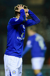 Leicester Forward Jamie Vardy (ENG) holds his heads the ball after giving away a late penalty during the second half of the match - Photo mandatory by-line: Rogan Thomson/JMP - Tel: Mobile: 07966 386802 18/01/2013 - SPORT - FOOTBALL - King Power Stadium - Leicester. Leicester City v Middlesbrough - npower Championship.