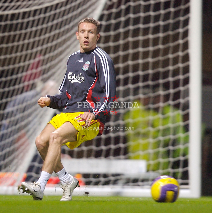 London, England - Tuesday, January 30, 2007: Liverpool's Craig Bellamy warms-up before the Premiership against West Ham United match at Upton Park. (Pic by David Rawcliffe/Propaganda)