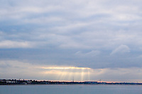Evening view of Dublin bay from Dun Laoghaire Pier in Dublin Ireland
