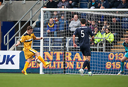 Dumbarton's Mitchell Megginson scoring their second goal.<br /> Half time : Falkirk 1 v 2 Dumbarton, Scottish Championship game played today at the Falkirk Stadium.<br /> &copy;Michael Schofield.
