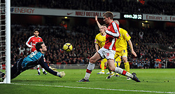 Nicklas Bendtner goes close to scoring his second goal during the FA Cup 4th Round Replay between Arsenal and Cardiff City at the Emirates Stadium on February 16, 2009 in London, England.
