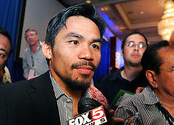 Manny Pacquaio speaks with the media and greets fans after knocking out  IBO light welterweight champion Ricky Hatton (45-2, 32 KOs)  in two rounds on Saturday night at the MGM Grand Garden Arena in Las Vegas. 2nd May 2009