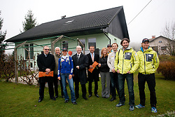 Sreco Barbic of Loka Inzeniring, Peter Zupan, Teja Gregorin, Gregor Bencina, general manager of Jelovica d.d., Ales Ekar of Jelovica d.d., Alenka Popp Vogelnik of Jelovica d.d., Vid Voncina, Matej Oblak, Tomas Kos and Klemen Bauer at opening ceremony of rebuilded T. Gregorin's house after she moved from Ihan, on November 10, 2011, in Hotemaze at Kranj, Slovenia. (Photo by Vid Ponikvar / Sportida)