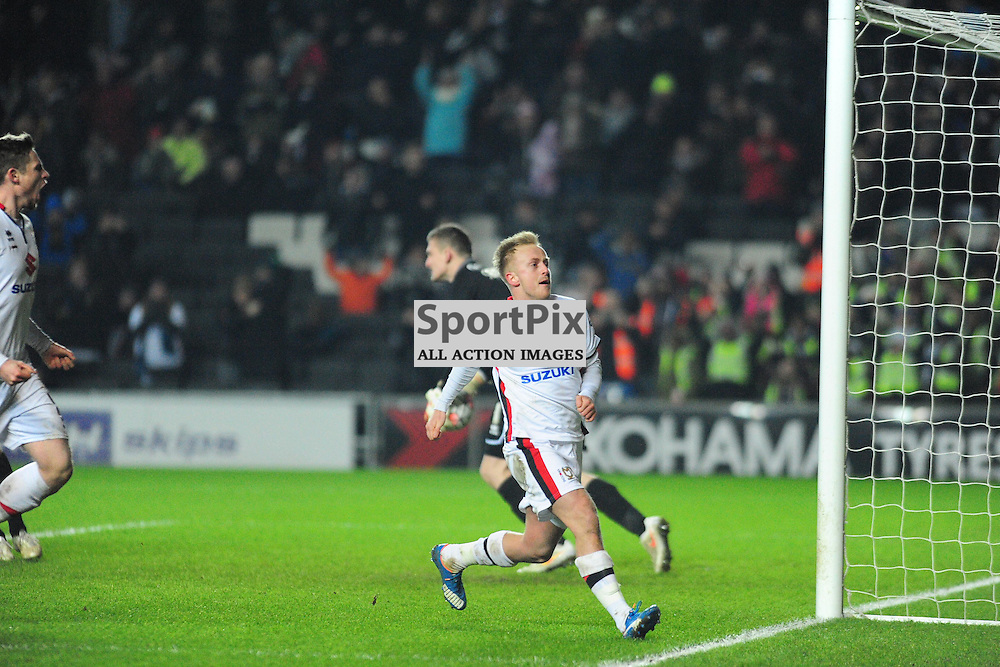 MK DONS BEN REEVES FIRES IN MK FIRST GOAL FROM THE PENALTY SPOT AND CELEBRATES,  Dons v Northampton Town, FA Cup Emirates FA Cup Third round Repay, Stadium MK, Tuesday 19th January 2016