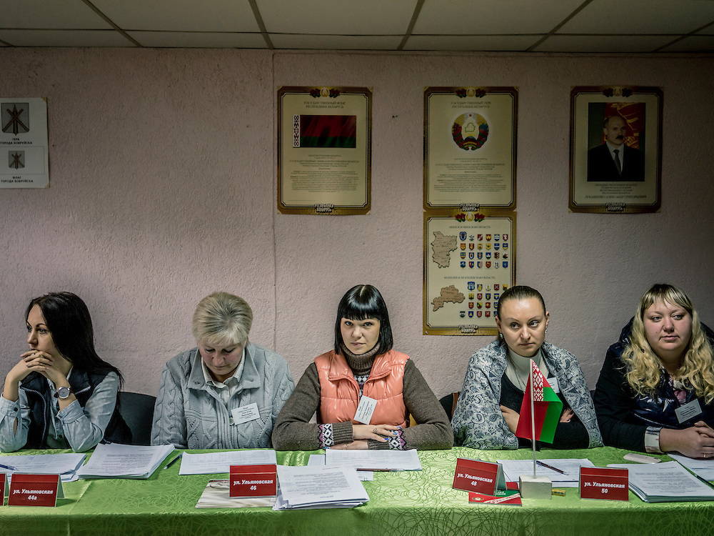 Election officials inside a polling station on Sunday, October 11, 2015 in Babruysk, Belarus. The town has been proposed to house a new Russian air base, though whether that will happen is questionable. President Alexander Lukashenko, a longtime iron-fisted ruler of Belarus, was elected to a fifth term with a reported 83.5% of the vote, which international monitors said did not meet democratic standards.