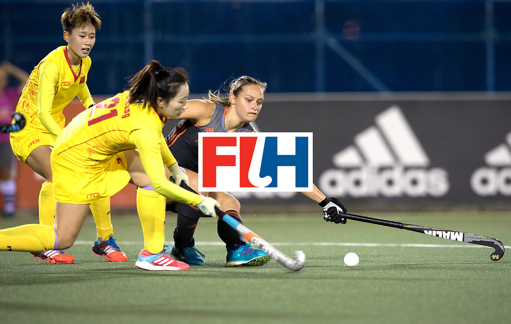 AUCKLAND - Sentinel Hockey World League final women<br /> Match id: 10305<br /> 16 NED v CHina (QF)<br /> Foto: Kelly Jonker mee verdedigen..<br /> WORLDSPORTPICS COPYRIGHT FRANK UIJLENBROEK