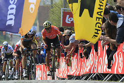 Greg Van Avermaet (BEL) CCC Team and Oliver Naesen (BEL) AG2R La Mondiale give chase on the Paterberg for the last time during the 2019 Ronde Van Vlaanderen 270km from Antwerp to Oudenaarde, Belgium. 7th April 2019.<br /> Picture: Eoin Clarke | Cyclefile<br /> <br /> All photos usage must carry mandatory copyright credit (© Cyclefile | Eoin Clarke)