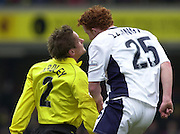 28/02/2004  -  Nationwide Div 1 Watford v Wimbledon.Watford's Neal Ardley and Wimbledon's Dean Lewington go head to head.
