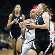 NEW YORK, NEW YORK - April 08:  Ashley Joens #1 Iowa City H.S. Iowa City, IA drives to the basket defended by  Honesty Scott-Grayson #20 Riverdale Baptist School Upper Marlboro, MD during the Jordan Brand Classic, National Girls Teams All-Star basketball game. The Jordan Brand Classic showcases the best male and female high school basketball players who compete in the exhibition games at the The Barclays Center, Brooklyn, New York on April 08, 2018 in New York City. (Photo by Tim Clayton/Corbis via Getty Images)