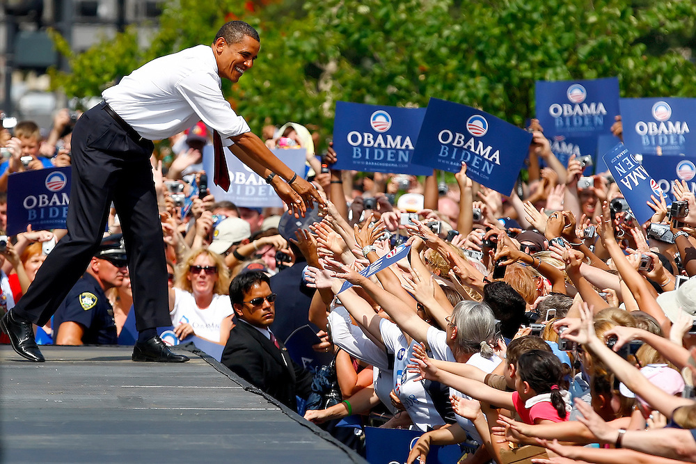 Herald & Review/Stephen Haas.Sen. Barack Obama, D-Ill., shakes hands with supporters during a campaign speech at the Old State Capitol Building Saturday, Aug. 23, 2008, in Springfield, Ill..