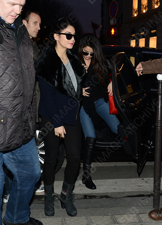 16.FEBRUARY.2013. PARIS<br /> <br /> SELENA GOMEZ, ASHLEY BENSON AND VANESSA HUDGENS ARE SPOTTED SHOPPING AT PRINTEMPS STORE AND DINNING AT 'L'AVENUE' RESTAURANT IN PARIS<br /> <br /> BYLINE: EDBIMAGEARCHIVE.CO.UK<br /> <br /> *THIS IMAGE IS STRICTLY FOR UK NEWSPAPERS AND MAGAZINES ONLY*<br /> *FOR WORLD WIDE SALES AND WEB USE PLEASE CONTACT EDBIMAGEARCHIVE - 0208 954 5968*