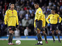 Photo: Paul Thomas.<br /> Blackburn Rovers v Arsenal. The FA Cup. 28/02/2007.<br /> <br /> Dejected Jeremie Aliadiere (L) and Julio Baptista of Arsenal wait to while Blackburn celebrate their goal.