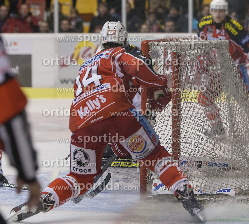 03.11.2013, Stadthalle, Klagenfurt, AUT, EBEL, EC KAC vs Dornbirner Bulldogs, 33. Runde, im Bild das TOr zum 2:0 durch Johannes Reichel (Kac, #14), Adam Dennis (Dornbirner Bulldogs, #44), Tylor Spurgeon (Kac, #9) // during the Erste Bank Icehockey League 33rd Round match betweeen EC KAC and Dornbirner Bulldogs at the City Hall, Klagenfurt, Austria on 2013/11/03. EXPA Pictures © 2013, PhotoCredit: EXPA/ Gert Steinthaler
