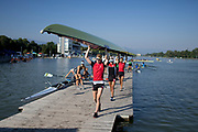 Plovdiv BULGARIA. 2017 FISA. Rowing World U23 Championships. <br /> Swiss Crews leaving the pontoon. Friday Boat Area. Boat Racks Pontoons.<br /> Friday Boat Area. Boat Racks Pontoons.<br /> <br /> 08:18:26  Friday  21.07.17   <br /> <br /> [Mandatory Credit. Peter SPURRIER/Intersport Images].