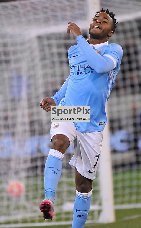 Raheem Stirling, Manchester City celebrates after scoring.<br /> The International Champions Cup.<br /> AS Roma V Manchester City, held at the MCG (Melbourne Cricket Ground), Melbourne, Victoria, Australia, on the 21st July 2015.<br /> Wayne Neal | SportPix.org.uk