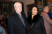 SIR MICHAEL CAINE,; LADY SHAKIRA CAINE,  Opening of David Hockney ' A Bigger Picture' Royal Academy. Piccadilly. London. 17 January 2012