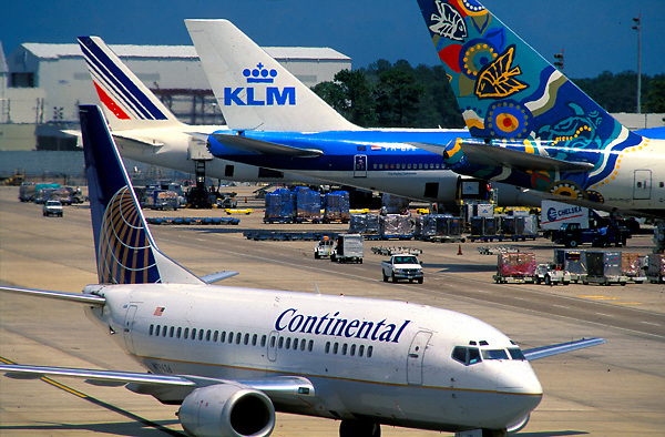 Continental and KLM Airplanes at George Bush Intercontinental Airport International Terminal