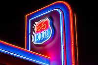 Neon sign, 66 Diner, Central Avenue (Historic Route 66), Albuquerque, New Mexico USA.