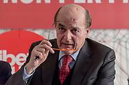 ROME, ITALY - FEBRUARY 15: Pier Luigi Bersani of 'Liberi e Uguali' left-wing political party, takes part at the presentation the economic programme of the 'Liberi e Uguali' party for the upcoming general election on February 15, 2018 in Rome, Italy. The Italian General Election takes place on March 4th 2018.