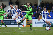 Forest Green Rovers Charlie Cooper(20) is tackled by Chester's Evan Horwood(3) during the FA Trophy 2nd round match between Chester FC and Forest Green Rovers at the Deva Stadium, Chester, United Kingdom on 14 January 2017. Photo by Shane Healey.