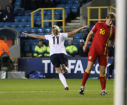 England's Toni Duggan (Everton) wheels away to celebrate her goal - Photo mandatory by-line: Robin White/JMP - Tel: Mobile: 07966 386802 26/10/2013 - SPORT - FOOTBALL - The Den - Millwall - England Women v Wales Women - World Cup Qualifier - Group 6