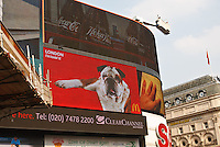 Video advertisements  in Picadilly Circus, London, England.