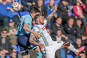 James Norwood (Tranmere Rovers) wins the header during the Vanarama National League match between Tranmere Rovers and Grimsby Town FC at Prenton Park, Birkenhead, England on 30 April 2016. Photo by Mark P Doherty.