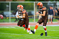 KELOWNA, BC - AUGUST 17:   Isaac Wegner #7 of Okanagan Sun kicks off the ball at the start of the game against the Westshore Rebels at the Apple Bowl on August 17, 2019 in Kelowna, Canada. (Photo by Marissa Baecker/Shoot the Breeze)