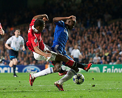 06.04.2011, Stamford Bridge, London, ENG, UEFA CL, Viertelfinale, Hinspiel, Chelsea FC (ENG) vs Manchester United (ENG), im Bild Chelsea's Ramires is brought down by Manchester United's Patrice Evra but no penalty is given during the UEFA Champions League Quarter-Final 1st leg match at Stamford Bridge, EXPA Pictures © 2011, PhotoCredit: EXPA/ Propaganda/ D. Rawcliffe *** ATTENTION *** UK OUT!