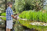 Little boy fishing at lake