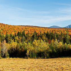 The northern Presidentials in New Hampshire's White Mountains as seen from a field in the Randolph Community Forest.