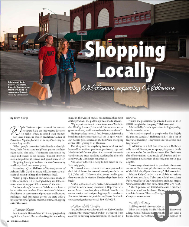 Aime and Edwin Taylor shopping in downtown Purcell, Oklahoma for Oklahoma Living Magazine.