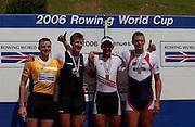 2006 FISA World Cup, Lucerne, SWITZERLAND, 09.07.2006lef to right GBR M1X, Aln CAMPBELL.  NZL M1X Mahe DRYSDALE Silver Medallist, NOR M1X, Olaf TUFTE Gold Medallist, centre, Bronze Medallist CZE M1X Ondrej SYNEK,  Photo  Peter Spurrier/Intersport Images email images@intersport-images.com, Finals Day, Morning A Finals. ....[Mandatory Credit Peter Spurrier/Intersport Images... Rowing Course, Lake Rottsee, Lucerne, SWITZERLAND.