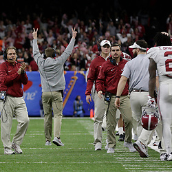 Jan 1, 2018; New Orleans, LA, USA; Alabama Crimson Tide head coach Nick Saban and the sideline react during the fourth quarter against the Clemson Tigers in the 2018 Sugar Bowl college football playoff semifinal game at Mercedes-Benz Superdome. Mandatory Credit: Derick E. Hingle-USA TODAY Sports