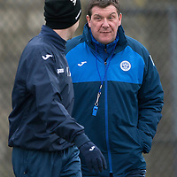 St Johnstone Training…19.02.16<br />Manager Tommy Wright talks with Steven MacLean<br />Picture by Graeme Hart.<br />Copyright Perthshire Picture Agency<br />Tel: 01738 623350  Mobile: 07990 594431
